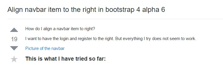 Align navbar  thing to the right  inside Bootstrap 4 alpha 6