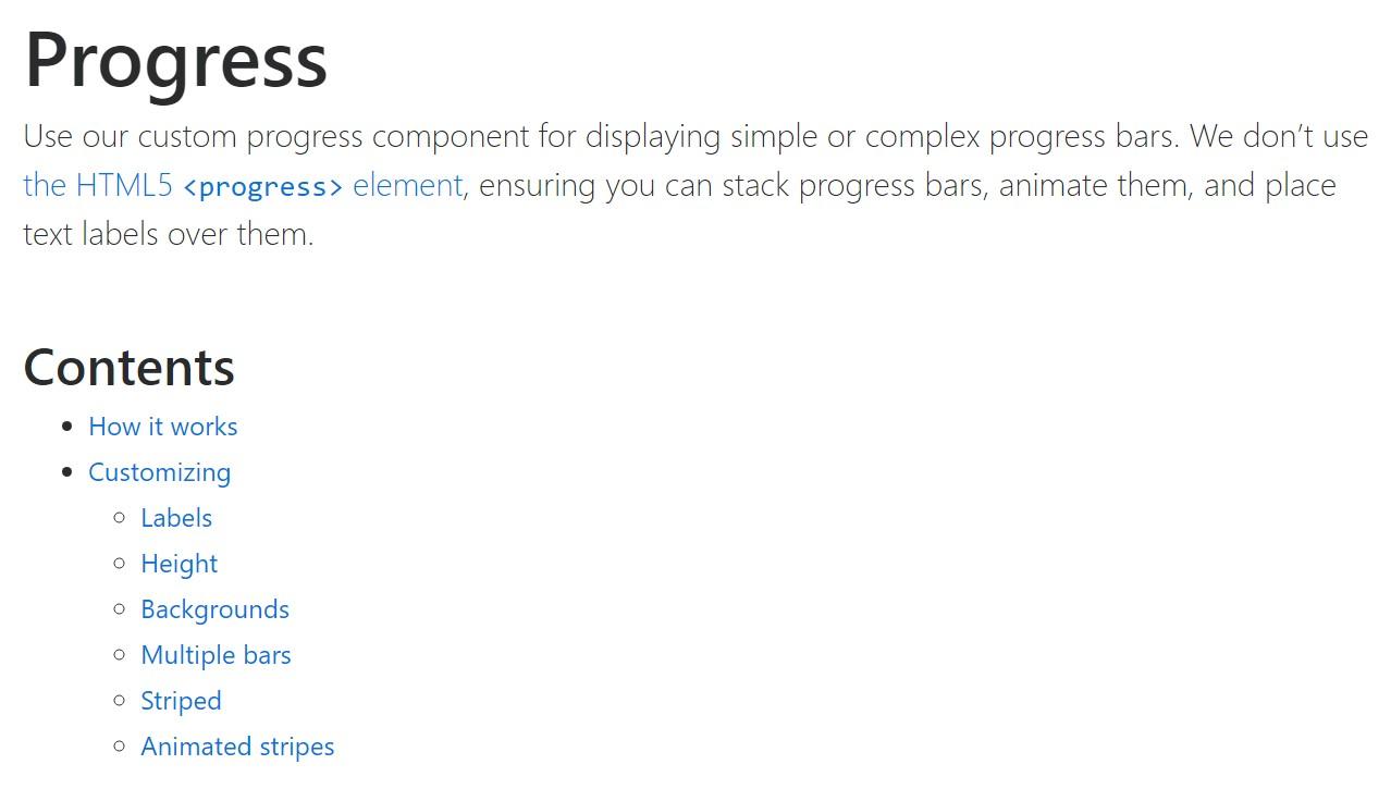 Bootstrap progress bar  formal documentation