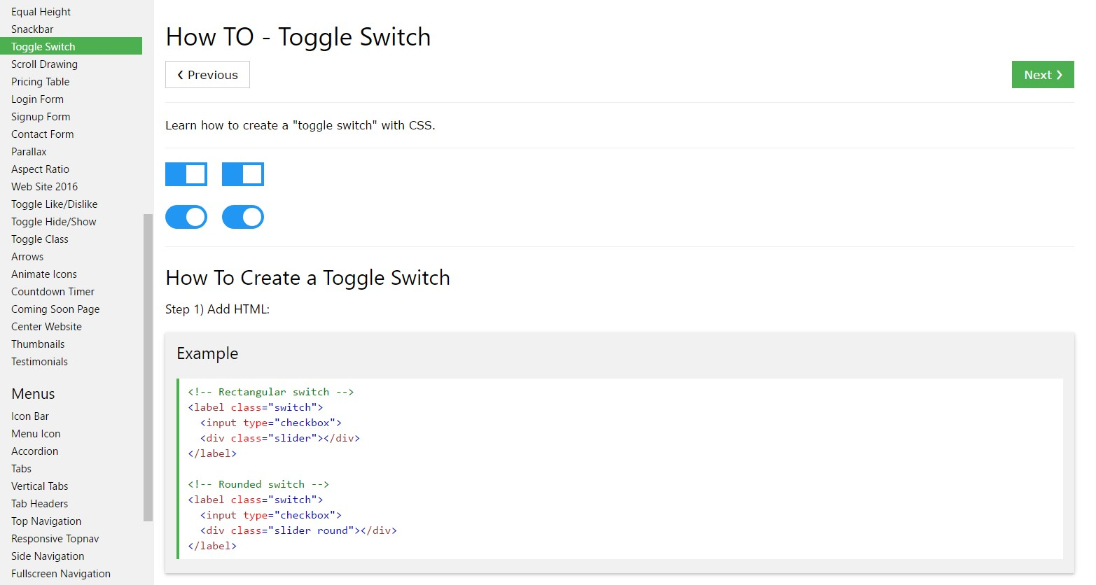 The best way to  establish Toggle Switch